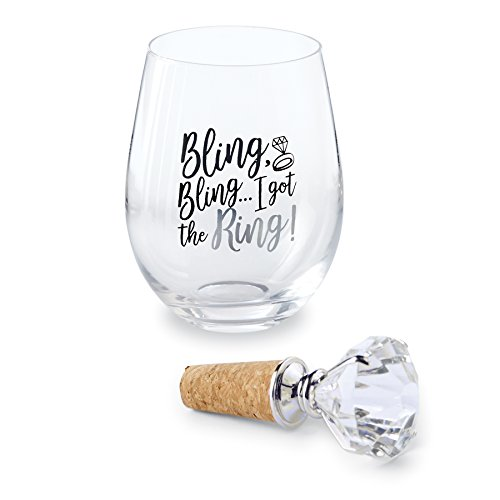 Mud Pie Bling Bling Ring Engaged Stemless Wine Glass 16 oz