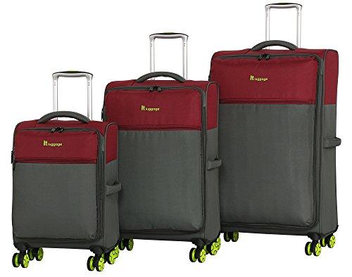 it luggage Mix-Lite 8 Wheel Lightweight Semi Expander 3 Piece Luggage Set (Ruby Wine/Gunmetal) (Set Wine Duffle)