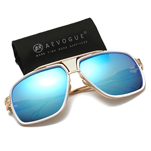 AEVOGUE Aviator Sunglasses For Men Goggle Alloy Frame Brand Designer AE0336 Gold&blue