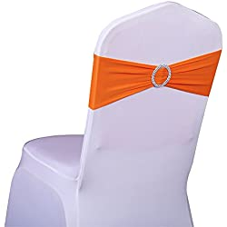 SINSSOWL 100PCS Stretch Wedding Chair Bands With Buckle Lycra Slider Sashes Bow Decorations 25 Colors (orange) …
