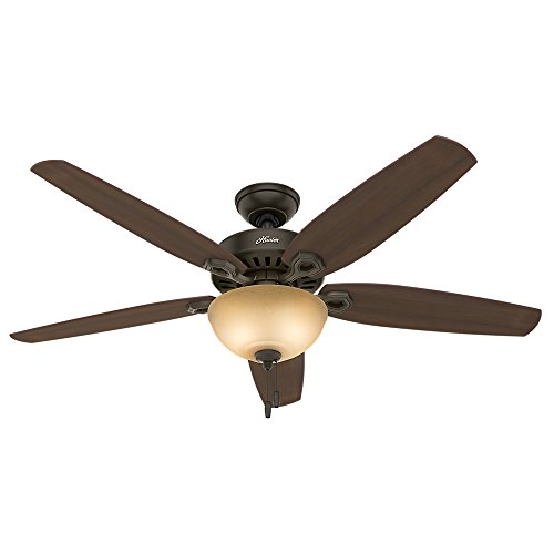 Hunter Fan Company 53363 Downrod Mount, 5 Harvest Mahogany Plywood Blades Ceiling fan with 63.4 watts light, Brushed Nickel