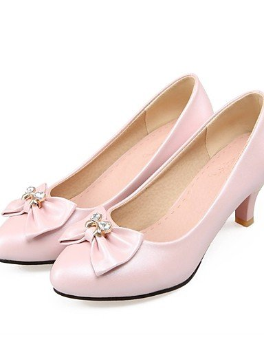 GGX/Damen Schuhe PU Sommer/spitz Toe Heels Büro & Karriere/Casual Stiletto Heel Schleife Blau/Pink/Weiß white-us7.5 / eu38 / uk5.5 / cn38