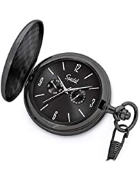 "Classic Brushed Satin Black Engravable Pocket Watch with 14"" Chain, Black Dial, Seconds Hand, Day and Date Sub-Dials"