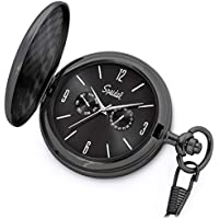 "Speidel Classic Brushed Satin Black Engravable Pocket Watch with 14"" Chain, Black Dial, Seconds Hand, Day and Date Sub-Dials"