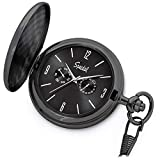 Speidel Classic Brushed Satin Black Engravable Pocket Watch with 14'' Chain, Black Dial, Seconds Hand, Day and Date Sub-Dials
