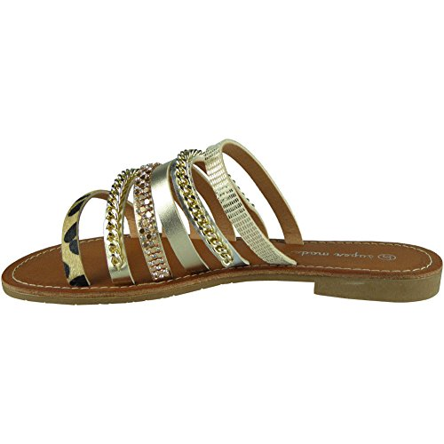 Sliders Or Taille Strappy Pantoufles Summer Slip 41 Chaussures Femmes Ons LoudLook Studded 36 Appartements 6RFwTTqx
