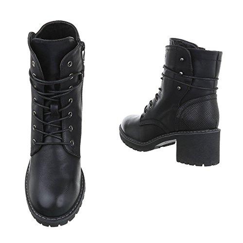 Damen Stiefelette Leder-Optik | Schnürstiefel Boots | Kurzschaft Stiefelette | Knöchelhohe Stiefel | robuste Outddor Stiefeletten | Absatz Stiefelette | Schuhcity24 Schwarz