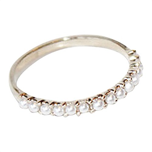 Gieschen Jewelers Simple Pave 14K Rose/White Gold-Plated Ring with Simulated Pearl