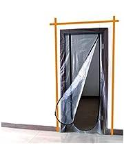 Meister stofdeur, 220 x 120 cm, geïntegreerde ritssluiting, lichtdoorlatend, meervoudig herbruikbaar, stofbescherming bij ombouw en renovatie, stofdeur, bouwdeur, stofgordijn, 4170300, transparant