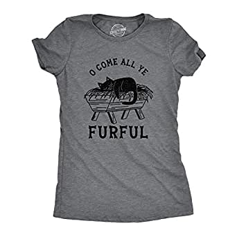 Womens O Come All Ye Furful Tshirt Funny Cat Christmas Carol Tee (Dark Heather Grey) - 3XL