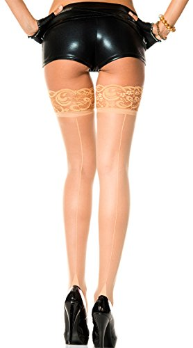 Music Legs Lace Top (Music Legs Lace Top Thigh High with Back Seam Beige One Size Fits Most)