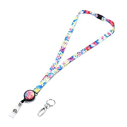 fbfe4cd239cd Grekywin Watercolor Painting Style Lanyard with Retractable Badge Reel ID  Card Name Tag Badge Holder Key Card Holder with Removable Buckle for Women