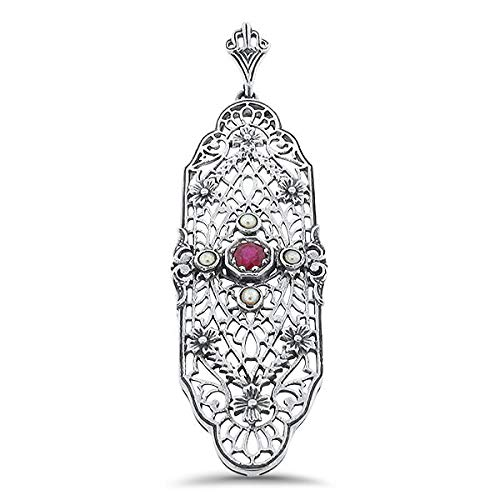 (Genuine Ruby Seed Pearl Antique Filigree Design .925 Sterling Silver Pendant KN-1249)