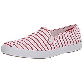 Keds womens Champion Slip on Sneaker, Red Breton Stripe, 9 US