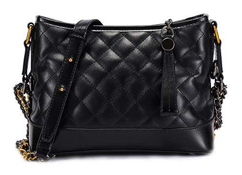 Women Shoulder Bag Designer Quilted Genuine Leather Handbag Purse (Black) ()