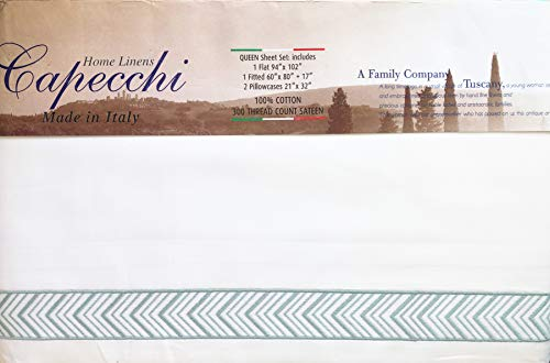 (Capecchi Italy 4 Piece Sheet Set Solid White with an Embroidered Light Metallic Blue Herringbone Geometric Motif Pattern Along The Edges 100% Cotton Sateen Luxury (Queen))