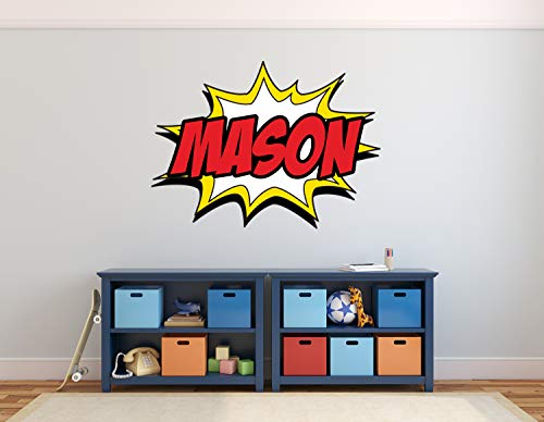 Custom Comic Name Wall Decal - Superheroes Wall Decals - Nursery Wall Decals - Baby Room Mural Art Decor Vinyl Sticker (30