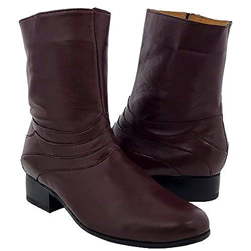 El Presidente Men's Burgundy Stefano 2 Zipper Leather Cowboy Ankle Boots Round 080