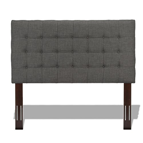 Wesley Allen King Beds - Strasbourg Upholstered Adjustable Headboard Panel with Solid Wood Frame and Button-Tufted Design, Charcoal Finish, King / California King