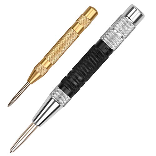 - HORUSDY Super Strong Automatic Centre Punch (Black) and General Automatic Center Punch (Yellow), Adjustable Spring Loaded Metal Drill Tool 2pcs