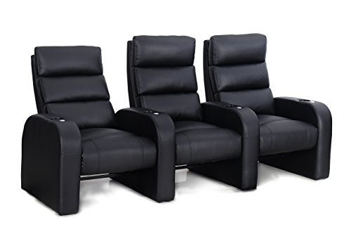 Octane Seating Cruise ZR500 Home Cinema Chairs - Black Bonded Leather - Accessory Dock - Straight Row 3 ()