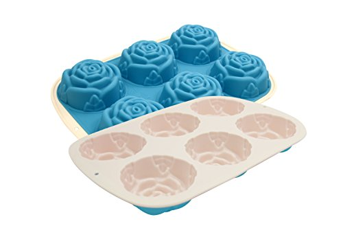 - Marathon Housewares KW200022BL Premium Two-Tone Silicone 6 Cup Rose Shaped Cupcake/Soap Mold Pan, Blue