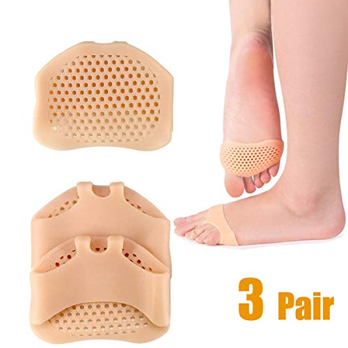 Metatarsal Pads Ball of Foot Cushions - ALIANFLY Soft Gel Ball of Forefoot Pad, Toe Separators Foot Pad, Foot Pain Relief Treatment Diabetic Foot, Blisters, Forefoot Pain for Women or Men(3 Pair) (Blister On Ball Of Foot After Walking)