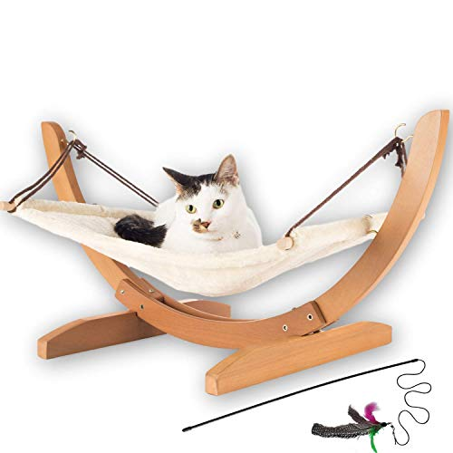 Vea pets Luxury Cat Hammock - Large Soft Plush Bed (24x16in) Holds Small to Medium Size Cat or Small Dog | Anti Sway | Attractive & Sturdy Perch | Easy to Assemble | Wood Construction | Prime Cat Toy
