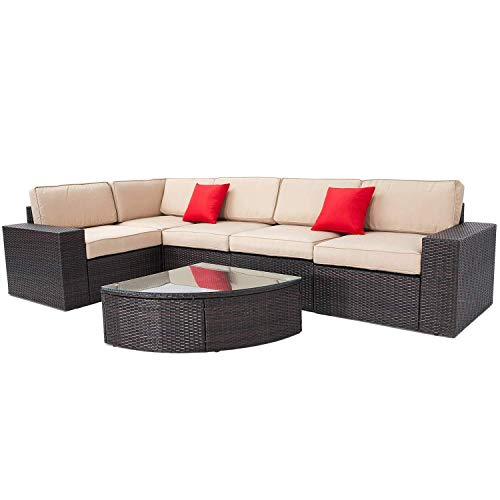 Incbruce Outdoor Patio Furniture Sets 6-Piece Outside Couch Wicker Sectional Sofa, Waterproof Cover, Patio Garden Conversation Sets with Brown Cushions and Wedge Table Sets