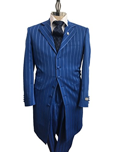Men's 3 Piece Royal Blue with White Gangster Pinstripe Dress Zoot Suit with Matching Vest (42R, (Mens Zoot Suits)