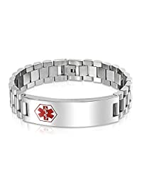 Bling Jewelry Mens Stainless Steel Medical ID Tag Identification Bracelet