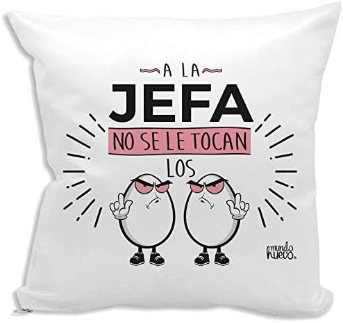 Cojín + Relleno. A la Jefa no se le tocan los Huevos. Agradable Tacto algodón: Amazon.es: Hogar