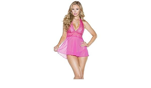 c1312442c0f Amazon.com  Shirley of Hollywood Halter Lace Babydoll Set