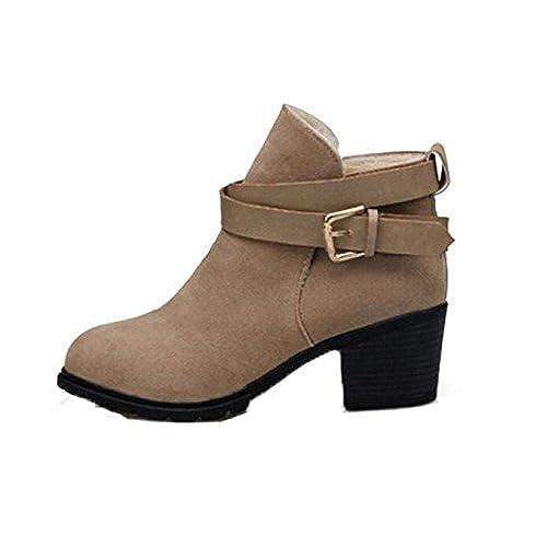 d81e29cad548 Chaussures femme Kolylong 2016 Hiver Bottes De Neige Mary Janes Low Heel  Cheville Boucle de ceinture