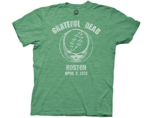 Ripple Junction Grateful Dead Boston 73 Adult T-Shirt XL Heather Green (Jester Skeleton)