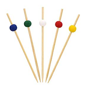 """Royal 4.75"""" Assorted Bamboo Ball Picks, Package of 1000"""