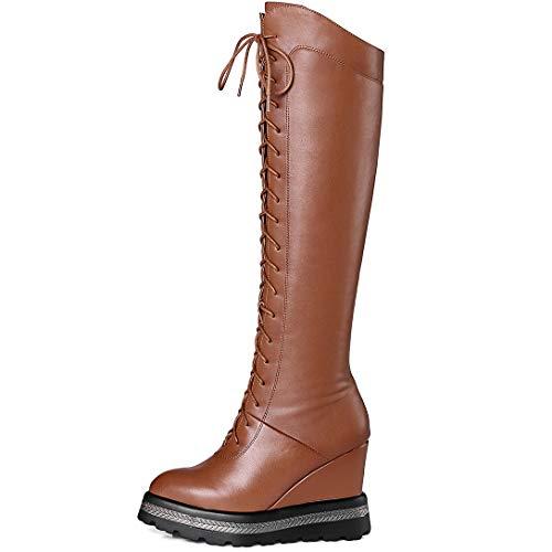 Knee high Elegirl Brown Toe Zippers Pointed Heel Boots ELEHOT Leather Womens Wedge qwRXaaI