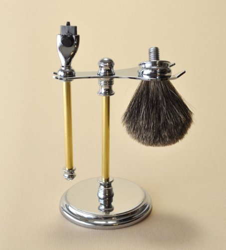 Woodturners Accessory Kit - Mach 3 Razor Brush and Delux Chrome Stand Kit for Wood Turners