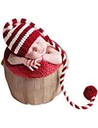Fashion Newborn Boy Girl Baby Outfits Photography Props Christmas Long Tail Hat Headdress