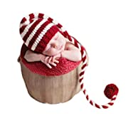 Vemonllas Fashion Newborn Boy Girl Baby Outfits Photography Props Christmas Long Tail Hat Headdress