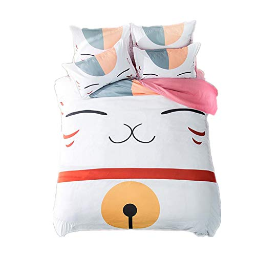 Judy Dre am Home Textiles Anime Natsume's Book of Friends Bedding Sets Cartoon Cat Duvet Cover Set 3pcs Twin Size,Pink -