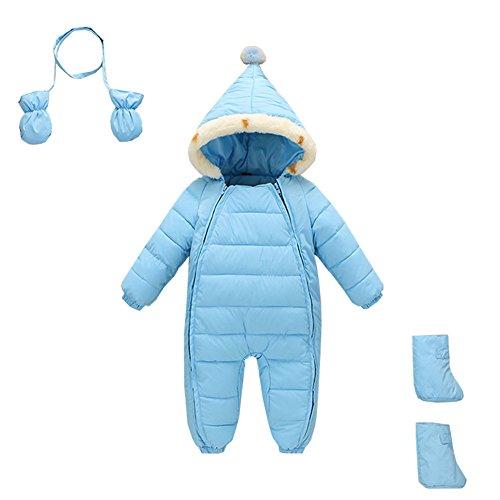 Mud Kingdom 3 Piece Baby Toddler Boy All in One Snowsuit Romper Winter 18-24M Light Blue ()