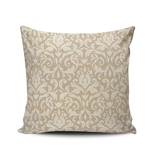 XIUBA Throw Pillow Covers Case Beige Classic Damask Decorative Pillowcase Cushion Cover 26X26 inch European Size Double Sided Design Printed