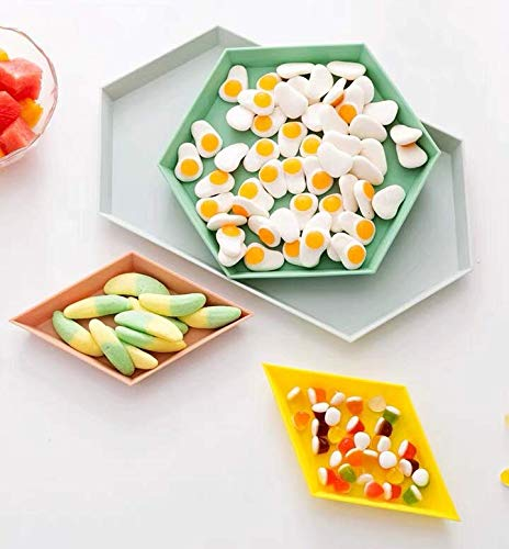 CY craft Food Serving Tray Modern Breakfast Serving Tray Sets,Stackable Plastic Butler Tray and Geometric Jewelry Tray,Colorful Dessert Plates Coffee Table Decorative and Storage Platters, Set of 4 (Decorative Modern Plates)