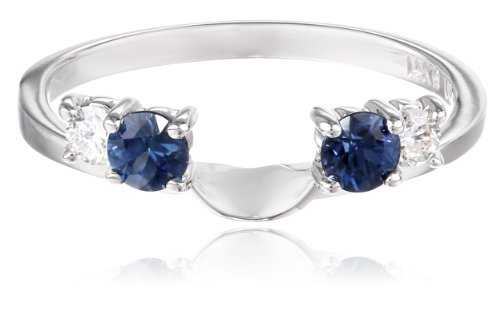 14k White Gold .13carat Diamond and Blue Sapphire Solitaire Enhancer Wedding Band (Fits 1/2carat-1 1/4carat Solitaire), Size 6 by Amazon Collection (Image #1)