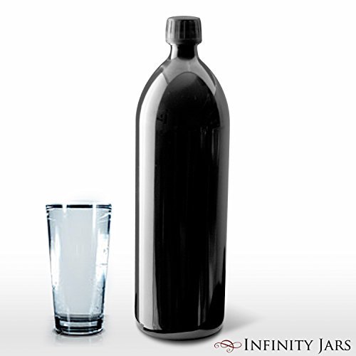 Infinity Jars 1 Liter (34 fl oz) Round Ultraviolet Large Glass Water Bottle 10-Pack by Infinity Jars (Image #3)