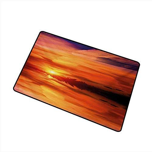 Axbkl Welcome Door mat Nature Dramatic Sunset Sky Clouds on Lake Horizon Twilight Creamy Scene Artwork W20 xL31 Durable