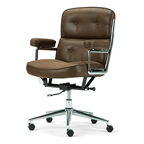 Simpli Home AXCOCHR-03 Barton Swivel Adjustable Executive Computer Office Chair in Chocolate Brown Faux Leather