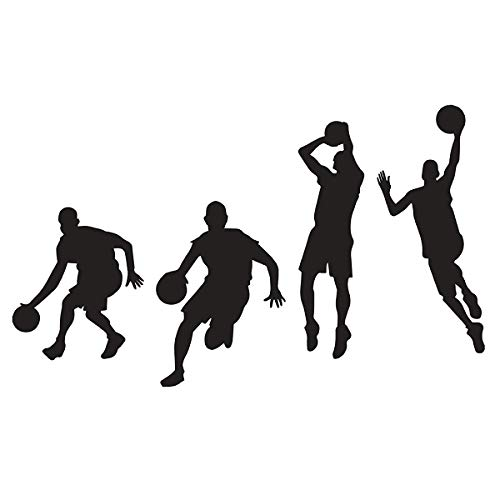 Woodland Arts Black 35.4 inches x 15.7 inches Vinyl Basketball 4 Basketball Players Slam Dunk Silhouette Wall Decals Stickers for Boy Rooms -