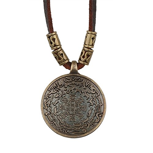 Vintage Big Bronze Disk Yinyang Pendant Genuine Leather Chain Statement Necklace Couple Necklace (Brown)